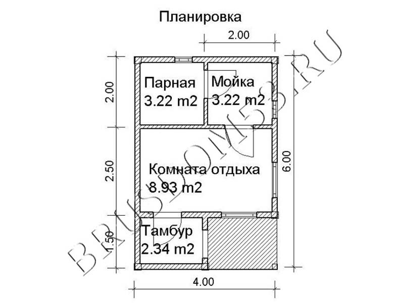 проект каркасной бани 6х4